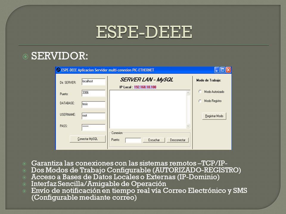 ESPE-DEEE SERVIDOR: Garantiza las conexiones con las sistemas remotos –TCP/IP- Dos Modos de Trabajo Configurable (AUTORIZADO-REGISTRO)
