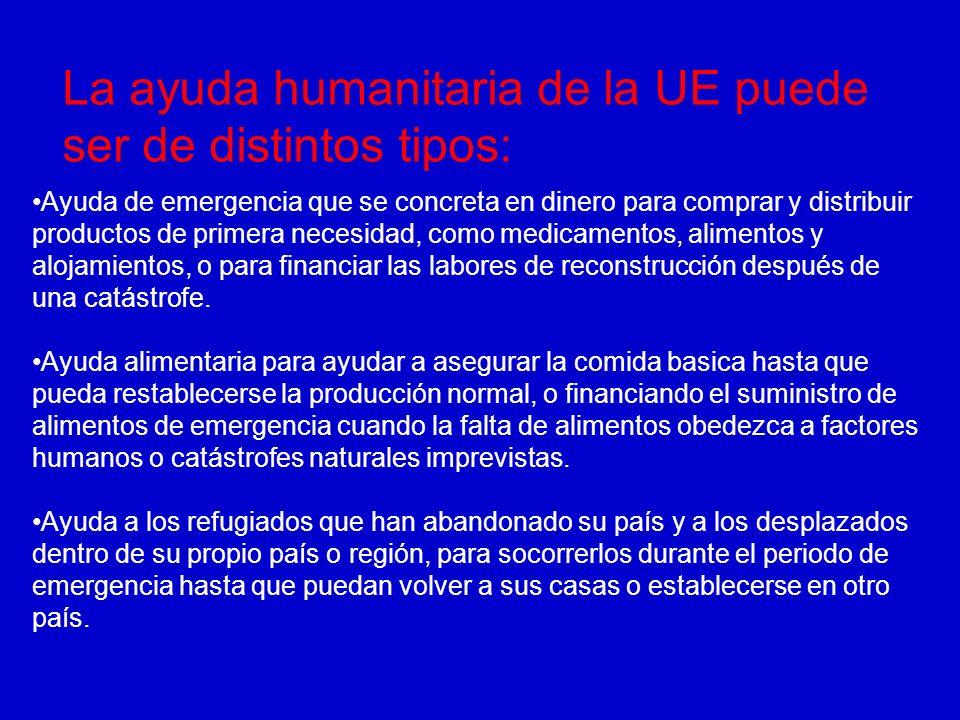 La ayuda humanitaria de la UE puede ser de distintos tipos: