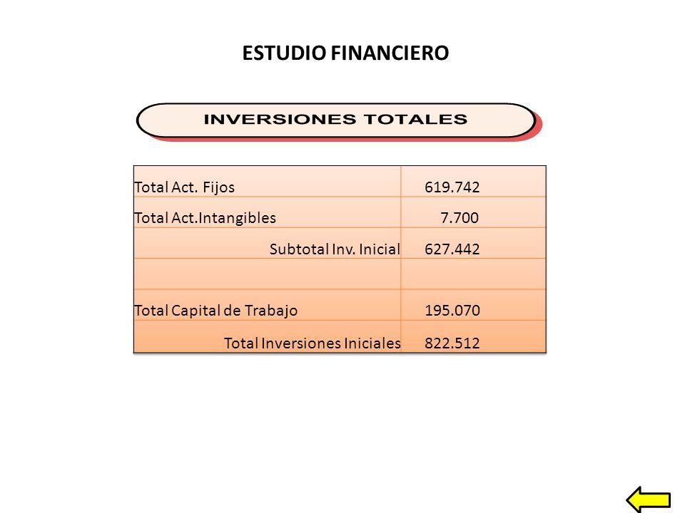 ESTUDIO FINANCIERO Total Act. Fijos 619.742 Total Act.Intangibles