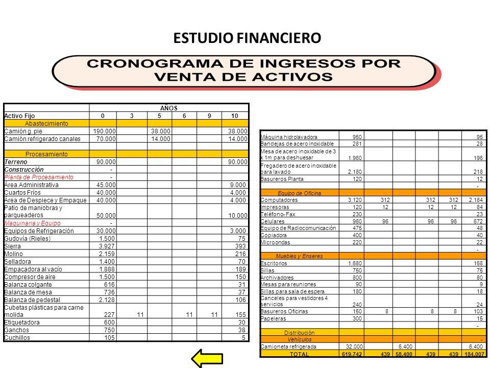 ESTUDIO FINANCIERO AÑOS Activo Fijo 3 5 6 9 10 Abastecimiento