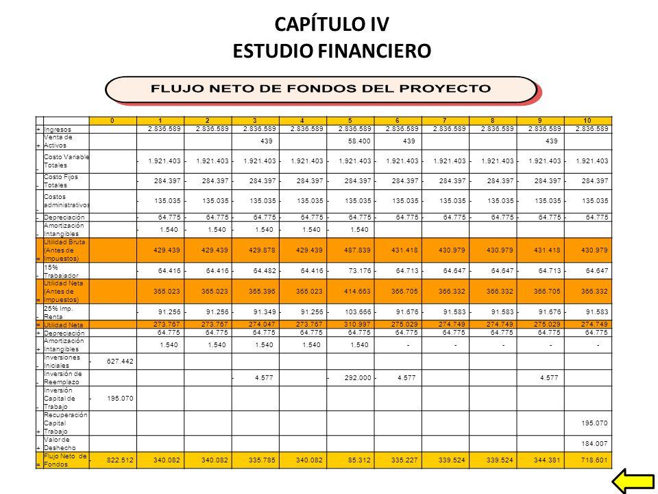 CAPÍTULO IV ESTUDIO FINANCIERO