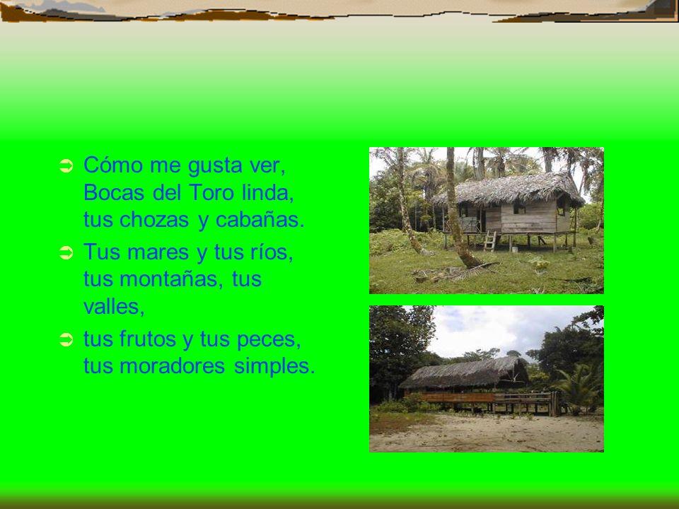Cómo me gusta ver, Bocas del Toro linda, tus chozas y cabañas.