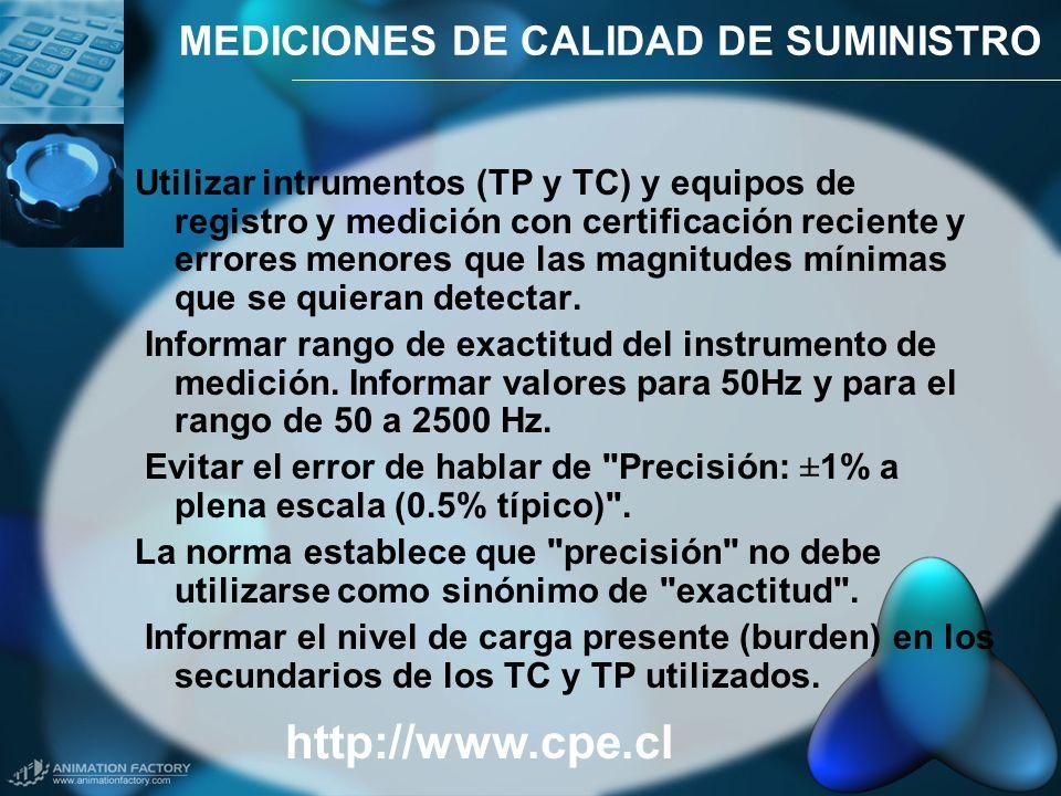 MEDICIONES DE CALIDAD DE SUMINISTRO