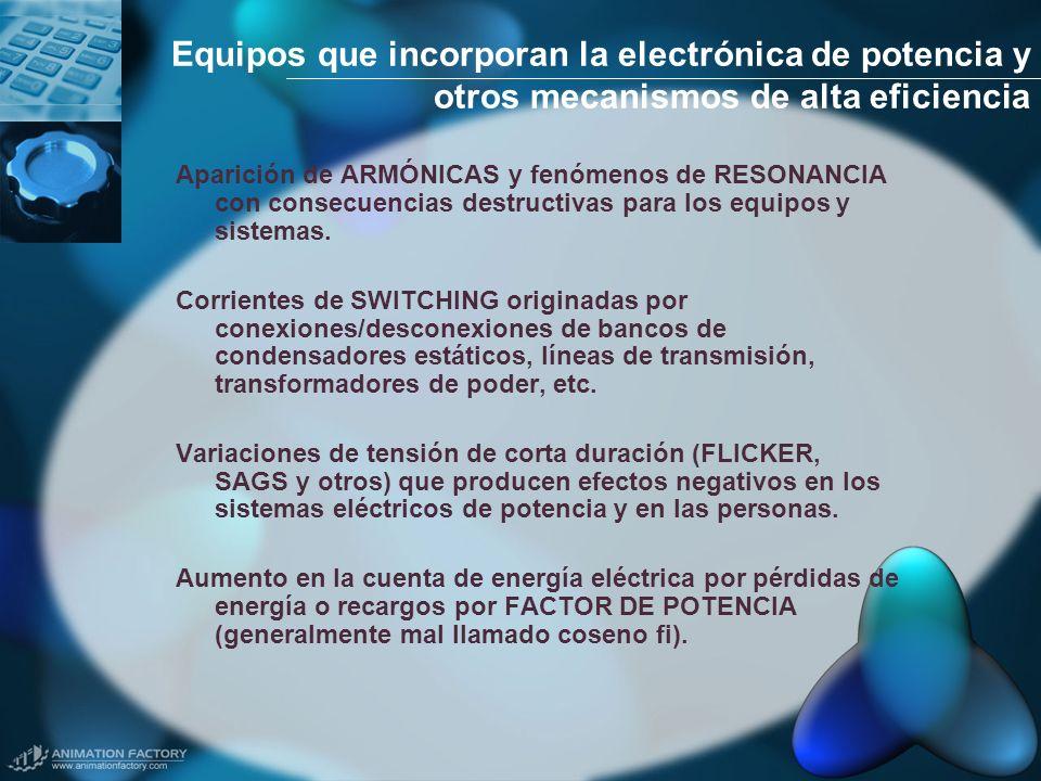 Equipos que incorporan la electrónica de potencia y otros mecanismos de alta eficiencia