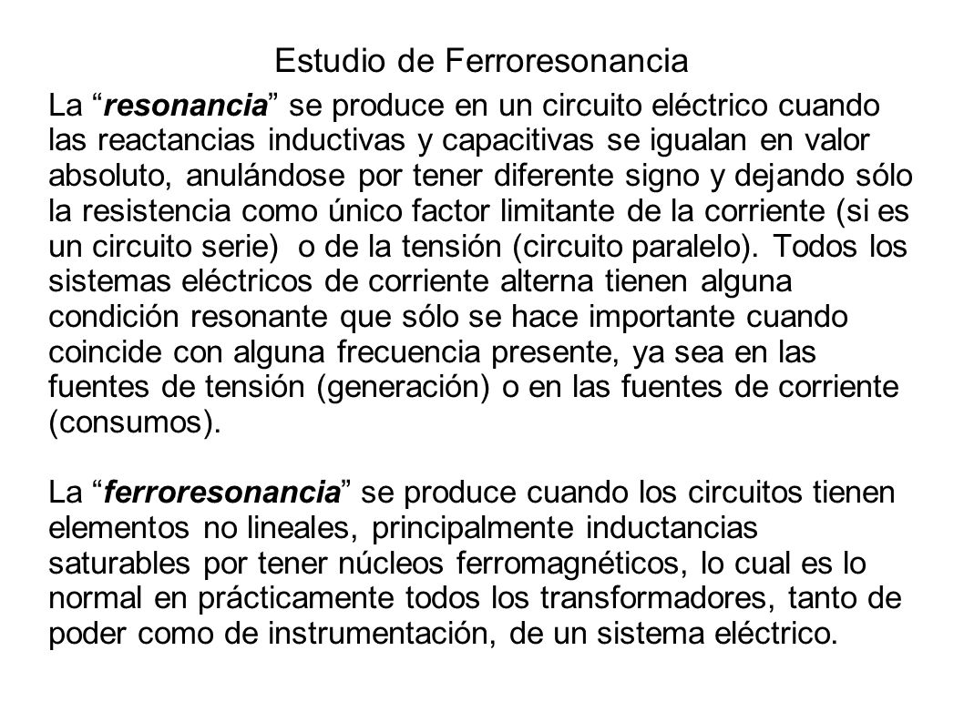 Estudio de Ferroresonancia