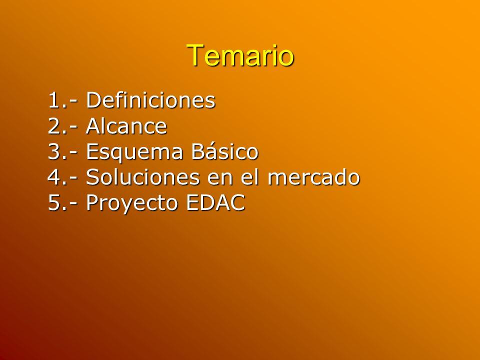Temario 1.- Definiciones 2.- Alcance 3.- Esquema Básico 4.- Soluciones en el mercado 5.- Proyecto EDAC.