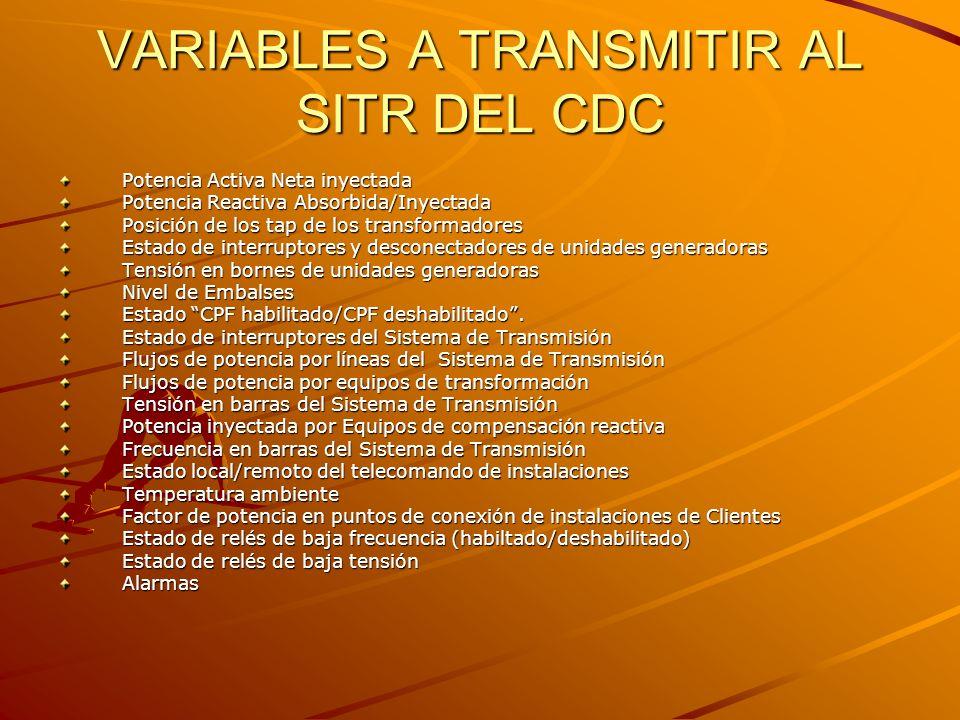 VARIABLES A TRANSMITIR AL SITR DEL CDC