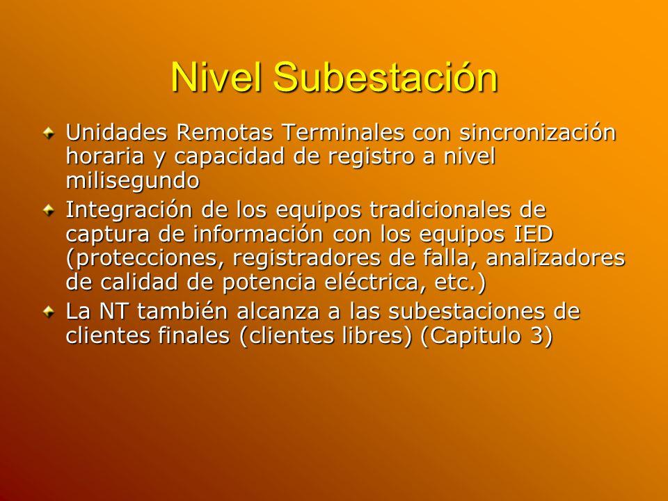 Nivel Subestación Unidades Remotas Terminales con sincronización horaria y capacidad de registro a nivel milisegundo.