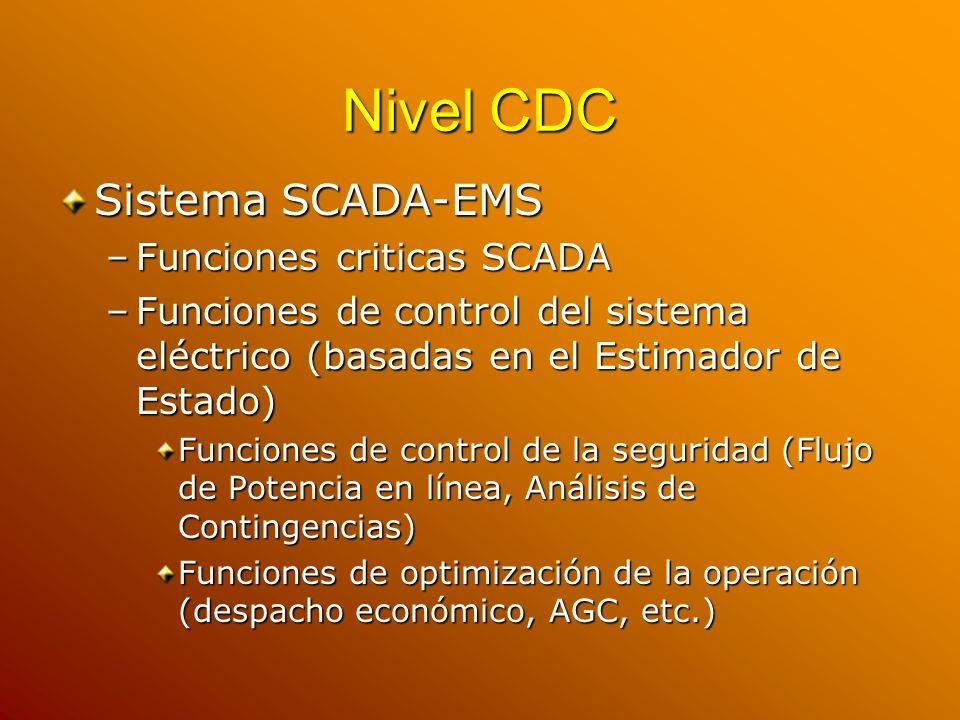Nivel CDC Sistema SCADA-EMS Funciones criticas SCADA
