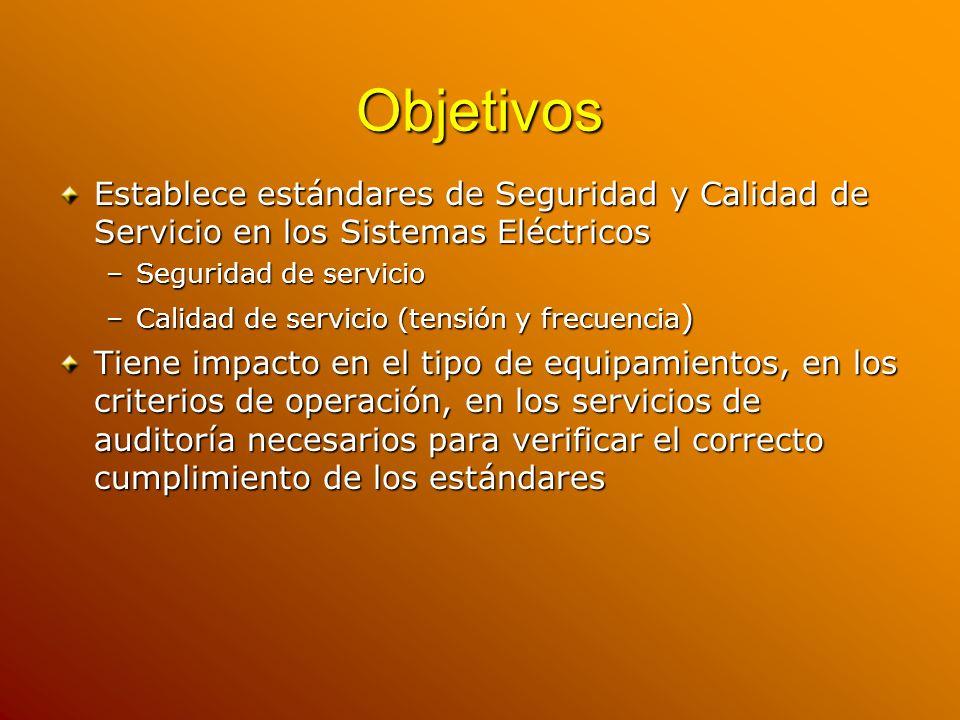 Objetivos Establece estándares de Seguridad y Calidad de Servicio en los Sistemas Eléctricos. Seguridad de servicio.