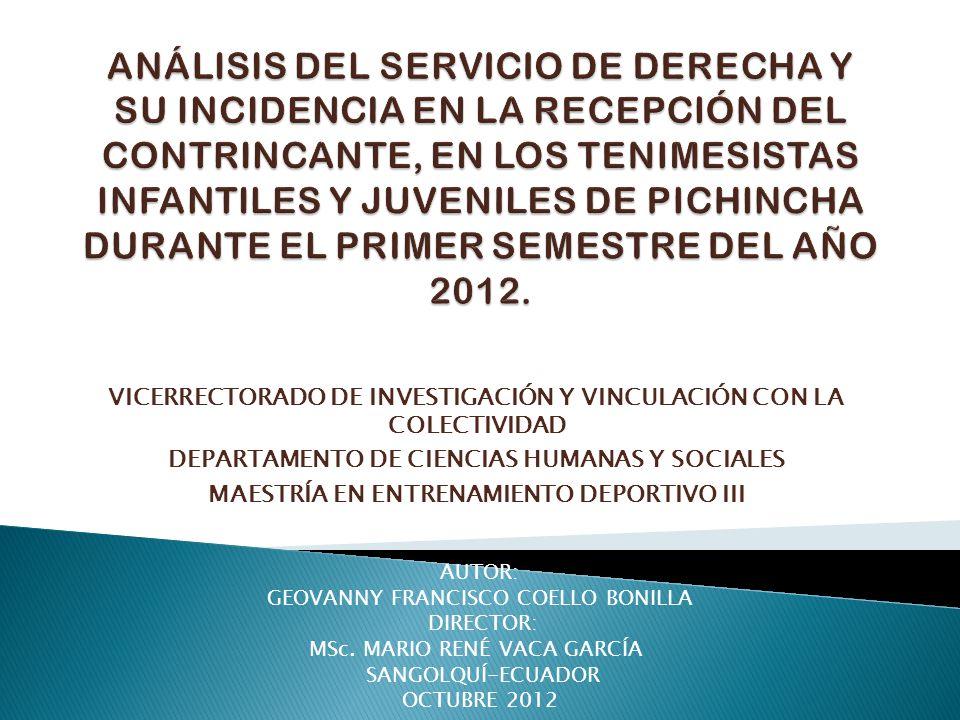 Análisis del servicio de derecha y su Incidencia en la recepción del contrincante, en los tenimesistas infantiles y juveniles de Pichincha durante el primer semestre del año 2012.