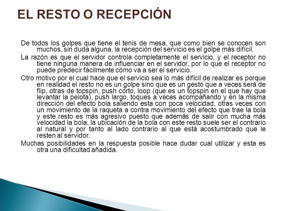 EL RESTO O RECEPCIÓN