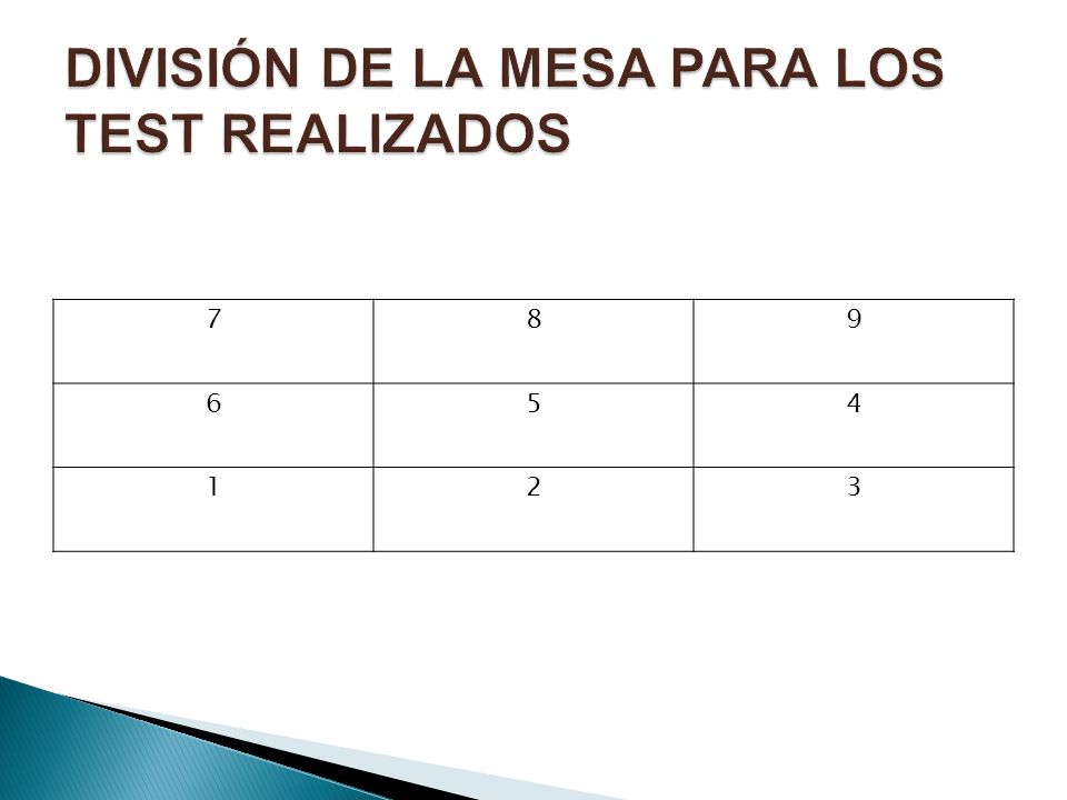 DIVISIÓN DE LA MESA PARA LOS TEST REALIZADOS