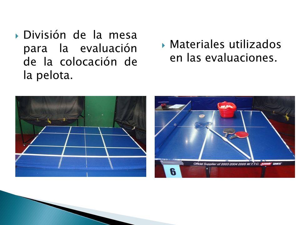 División de la mesa para la evaluación de la colocación de la pelota.