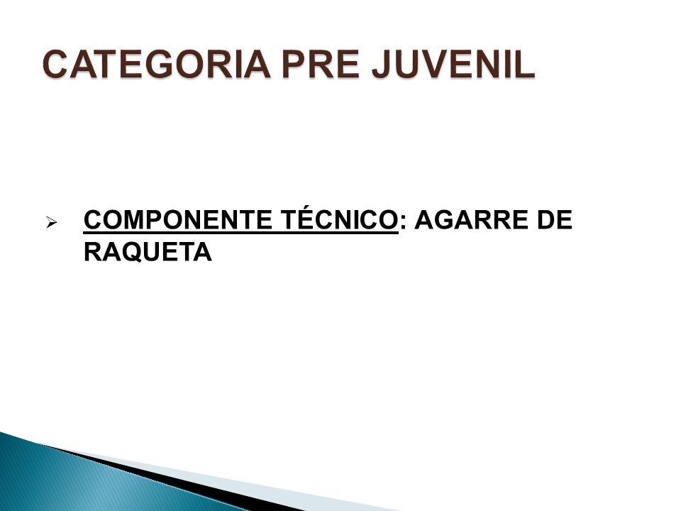 CATEGORIA PRE JUVENIL COMPONENTE TÉCNICO: AGARRE DE RAQUETA