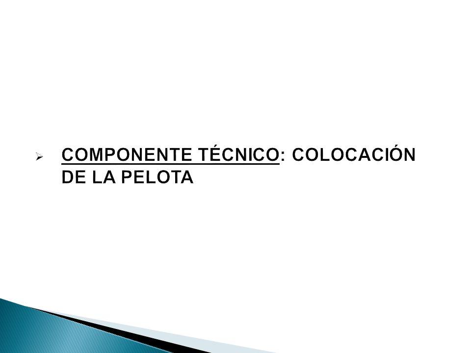 COMPONENTE TÉCNICO: COLOCACIÓN DE LA PELOTA
