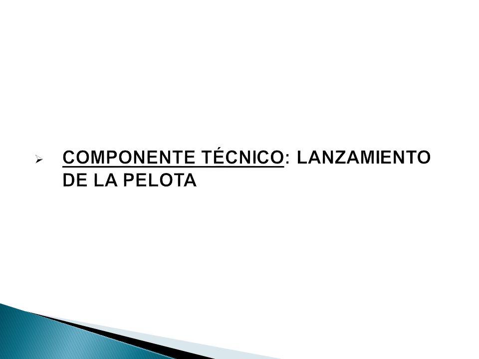 COMPONENTE TÉCNICO: LANZAMIENTO DE LA PELOTA