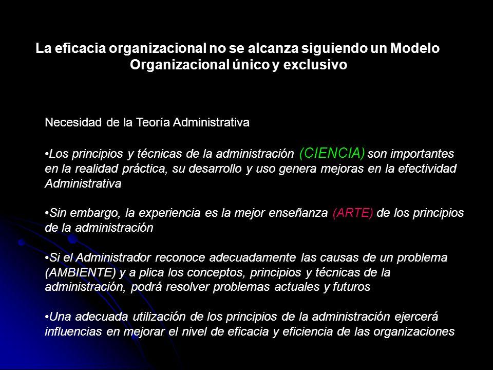 La eficacia organizacional no se alcanza siguiendo un Modelo
