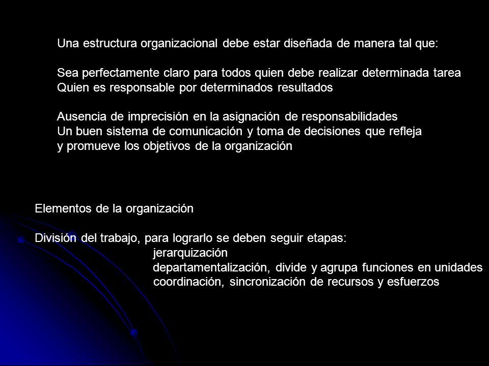 Una estructura organizacional debe estar diseñada de manera tal que:
