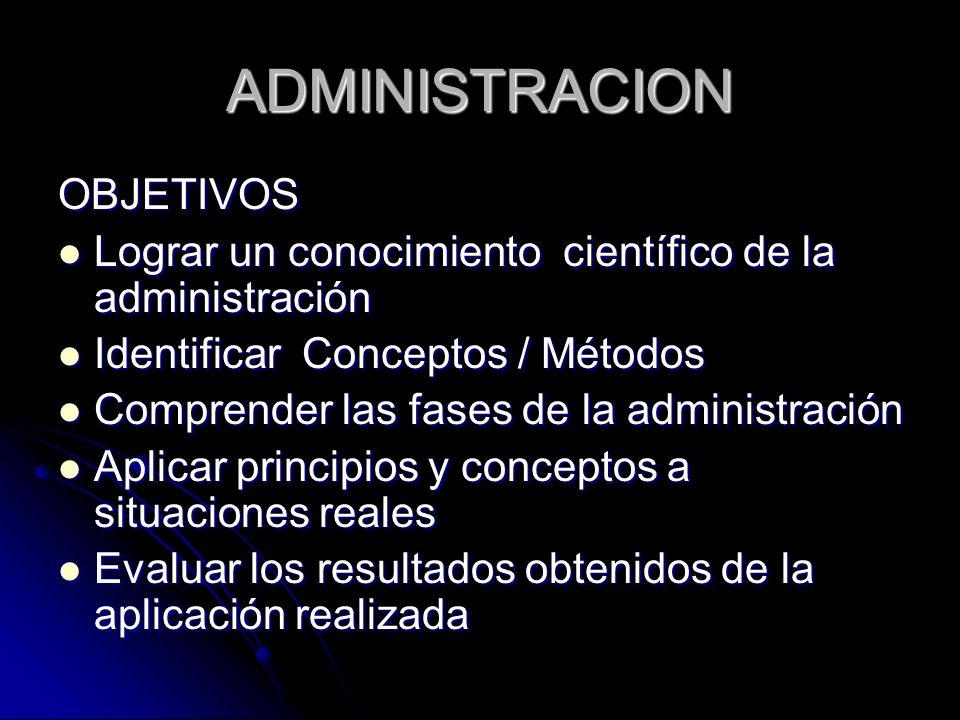 ADMINISTRACION OBJETIVOS