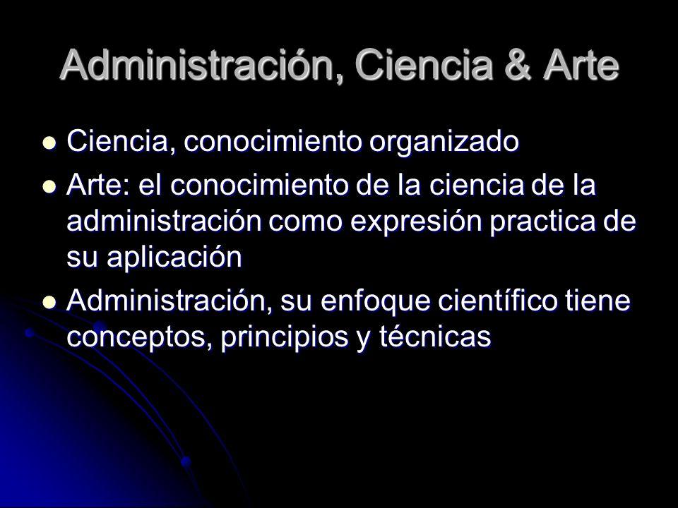 Administración, Ciencia & Arte