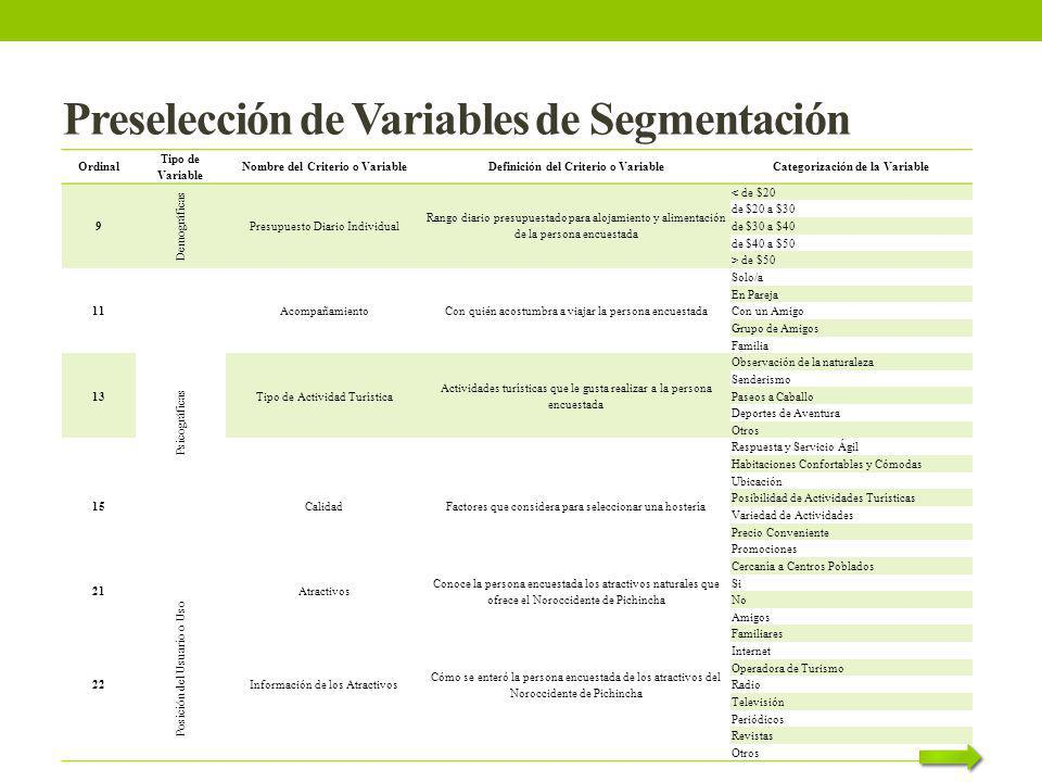 Preselección de Variables de Segmentación