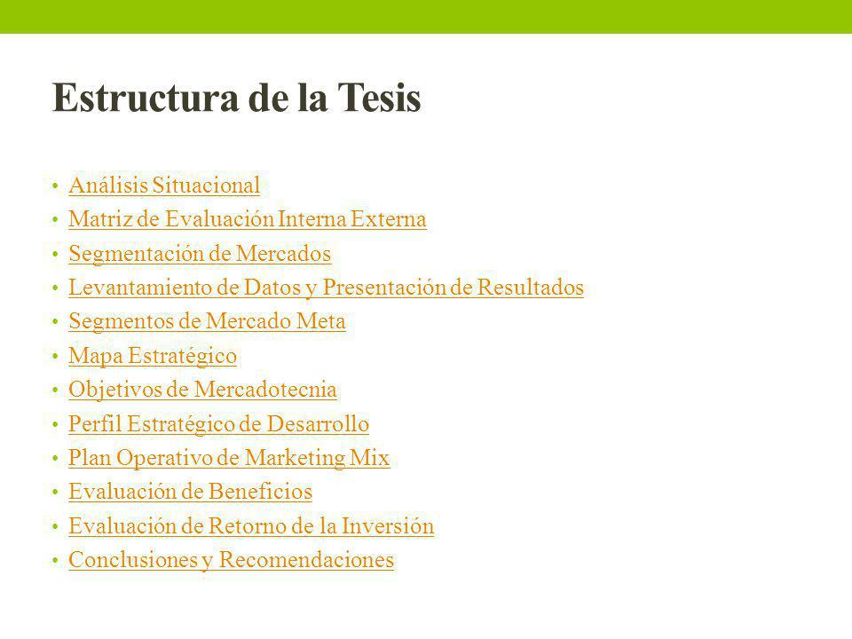 Estructura de la Tesis Análisis Situacional