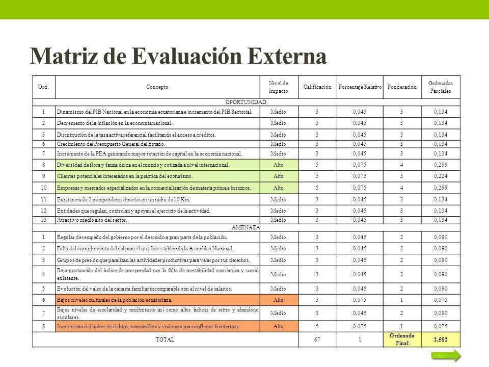 Matriz de Evaluación Externa