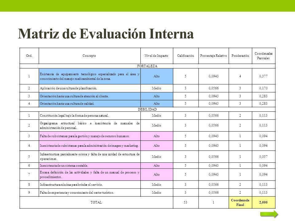 Matriz de Evaluación Interna