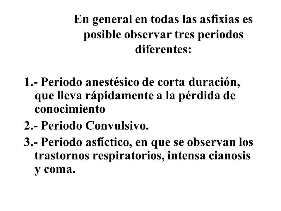 En general en todas las asfixias es posible observar tres periodos diferentes: