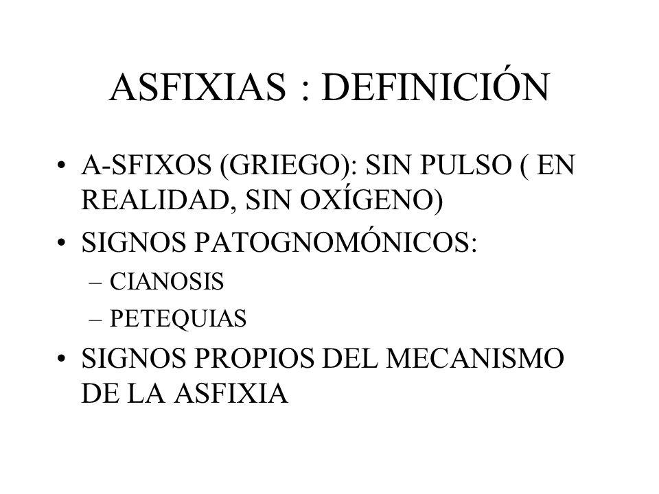 ASFIXIAS : DEFINICIÓN A-SFIXOS (GRIEGO): SIN PULSO ( EN REALIDAD, SIN OXÍGENO) SIGNOS PATOGNOMÓNICOS: