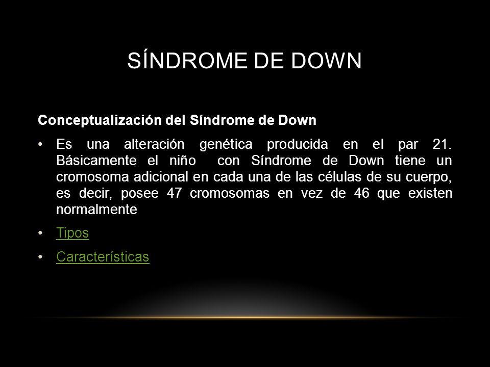 SÍNDROME DE DOWN Conceptualización del Síndrome de Down
