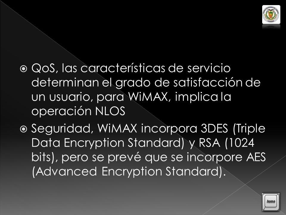 QoS, las características de servicio determinan el grado de satisfacción de un usuario, para WiMAX, implica la operación NLOS