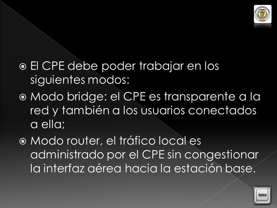 El CPE debe poder trabajar en los siguientes modos: