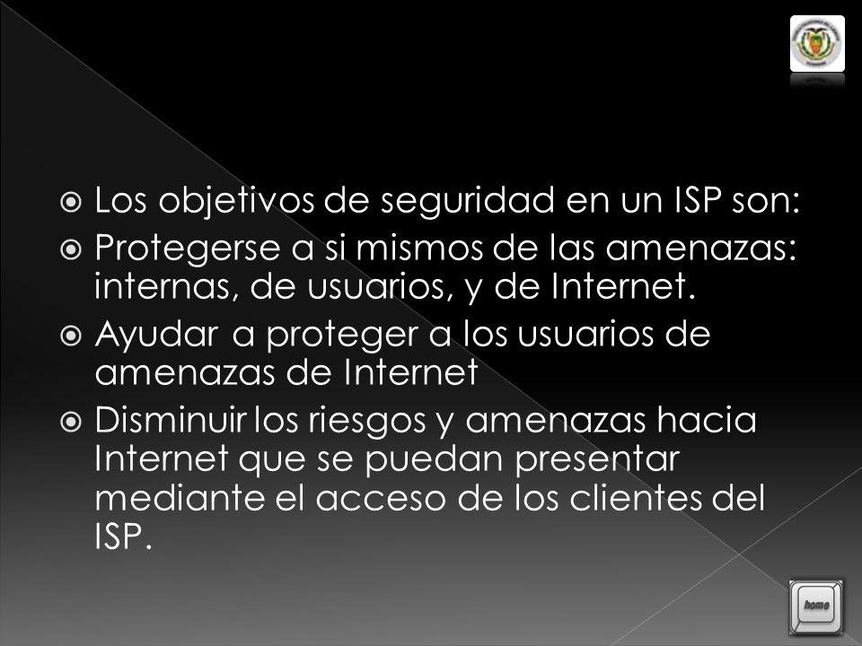 Los objetivos de seguridad en un ISP son: