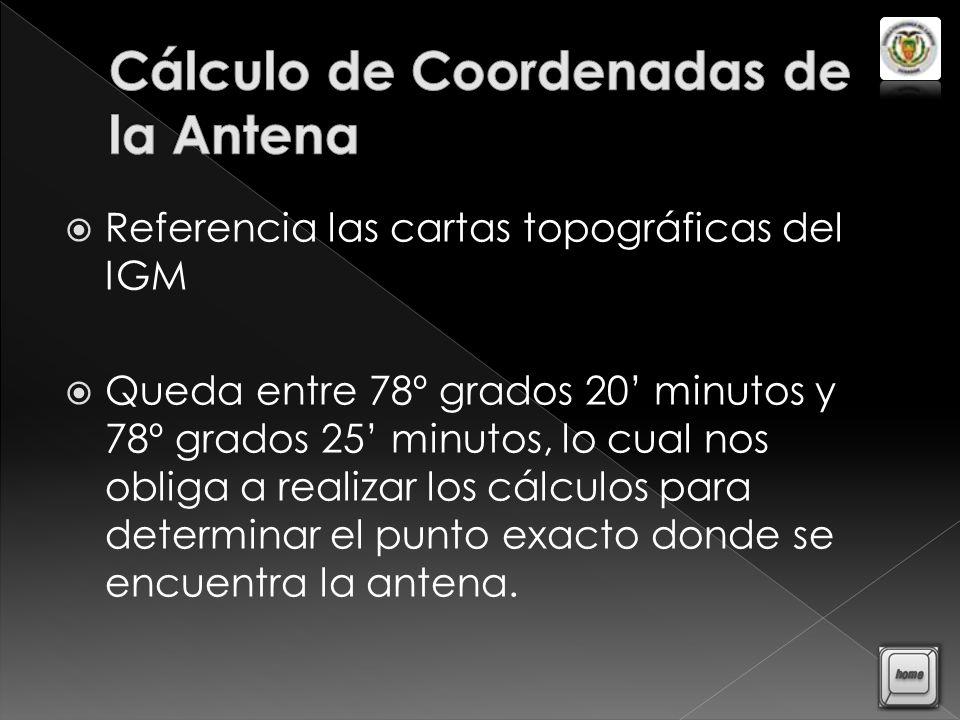 Cálculo de Coordenadas de la Antena