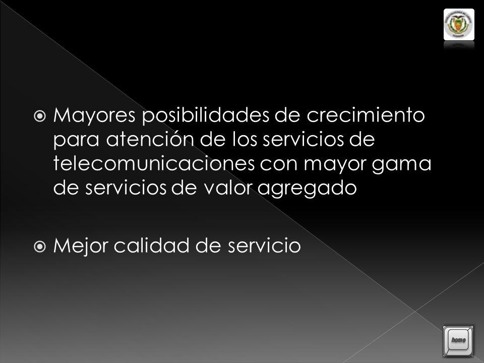 Mayores posibilidades de crecimiento para atención de los servicios de telecomunicaciones con mayor gama de servicios de valor agregado