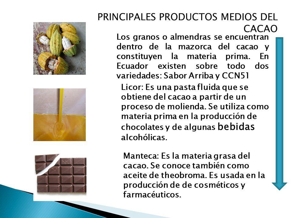 PRINCIPALES PRODUCTOS MEDIOS DEL CACAO