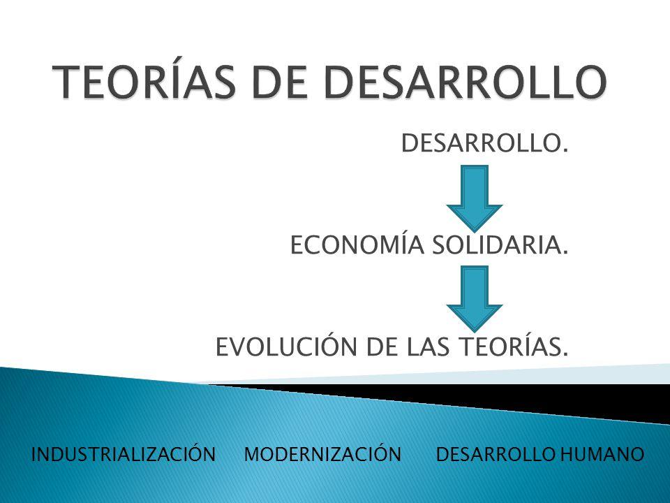 DESARROLLO. ECONOMÍA SOLIDARIA. EVOLUCIÓN DE LAS TEORÍAS.