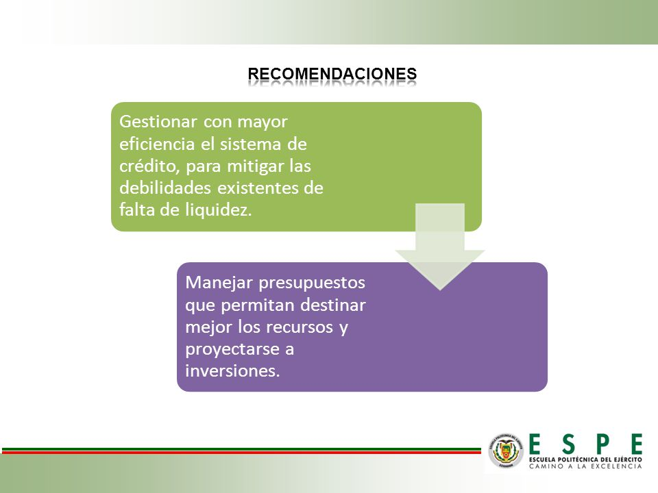 RECOMENDACIONES Gestionar con mayor eficiencia el sistema de crédito, para mitigar las debilidades existentes de falta de liquidez.