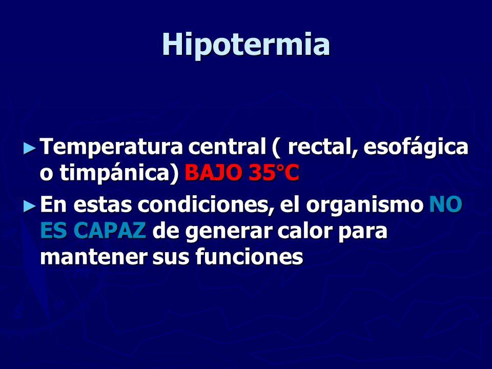 Hipotermia Temperatura central ( rectal, esofágica o timpánica) BAJO 35°C.