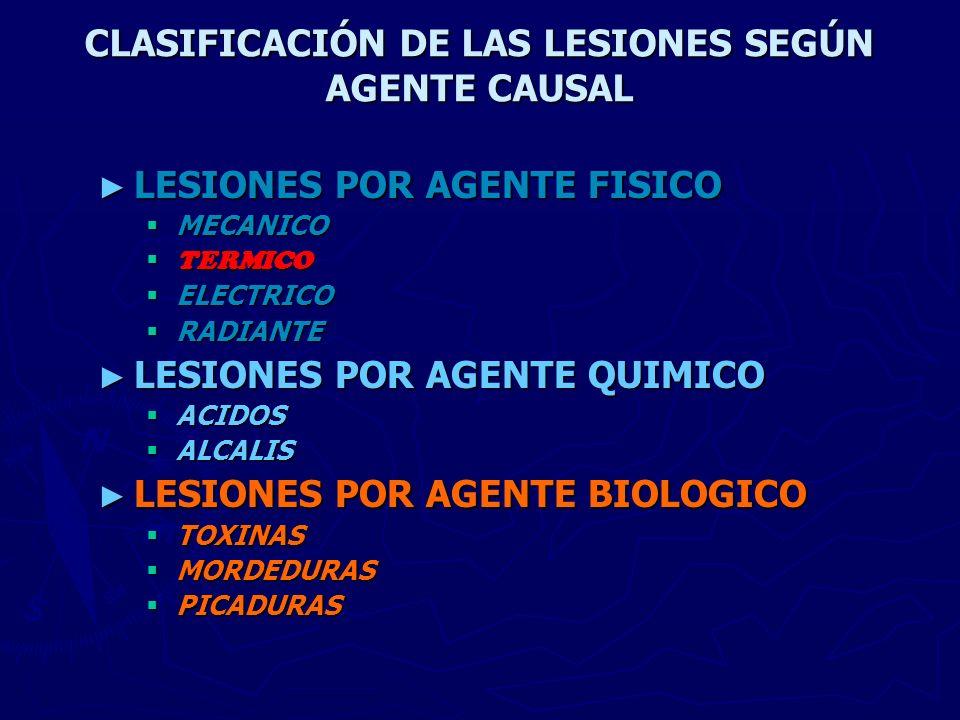 CLASIFICACIÓN DE LAS LESIONES SEGÚN AGENTE CAUSAL