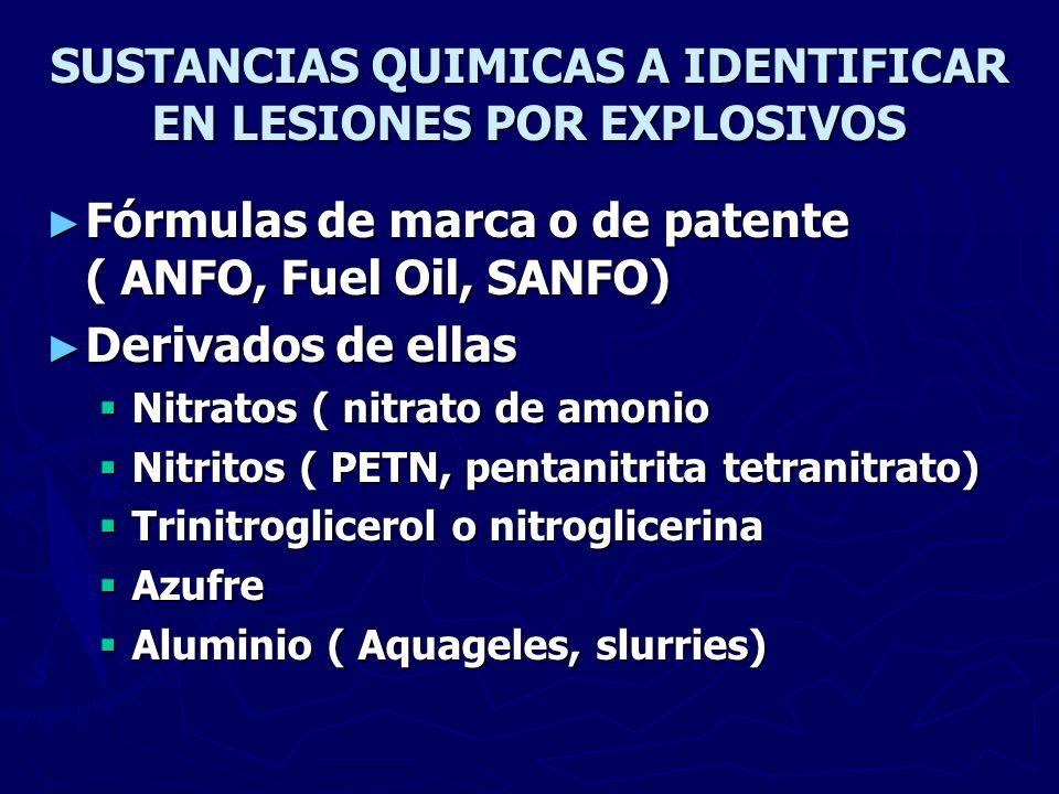 SUSTANCIAS QUIMICAS A IDENTIFICAR EN LESIONES POR EXPLOSIVOS