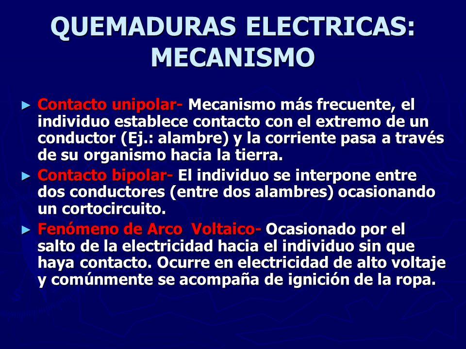 QUEMADURAS ELECTRICAS: MECANISMO