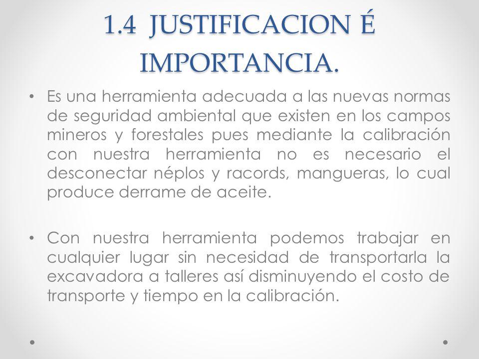 1.4 JUSTIFICACION É IMPORTANCIA.