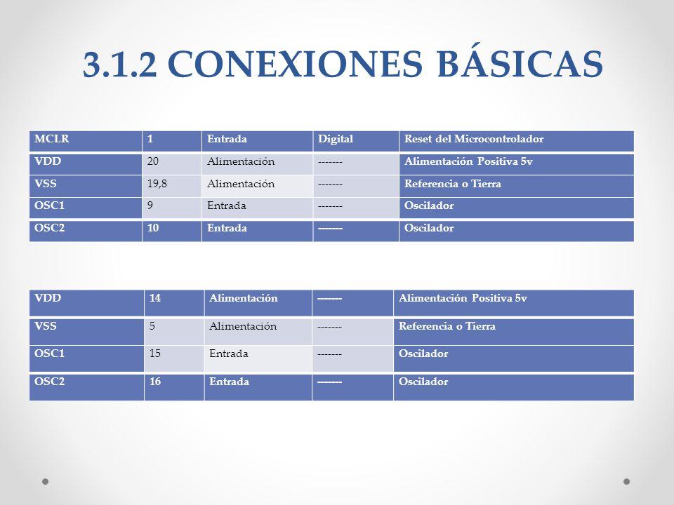 3.1.2 CONEXIONES BÁSICAS MCLR 1 Entrada Digital