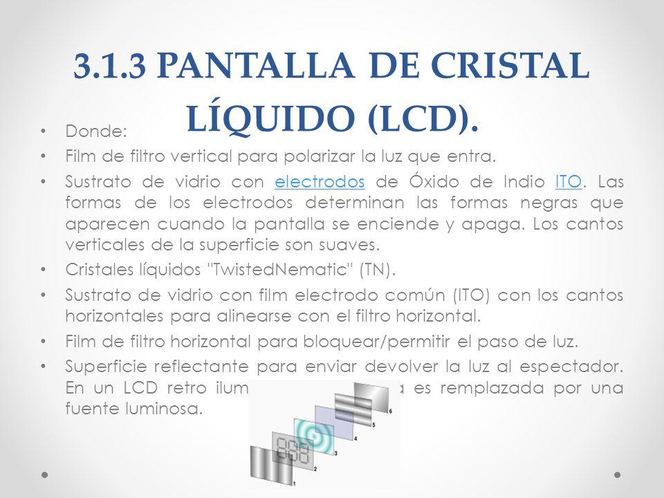 3.1.3 PANTALLA DE CRISTAL LÍQUIDO (LCD).