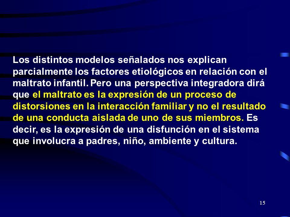 Los distintos modelos señalados nos explican parcialmente los factores etiológicos en relación con el maltrato infantil.