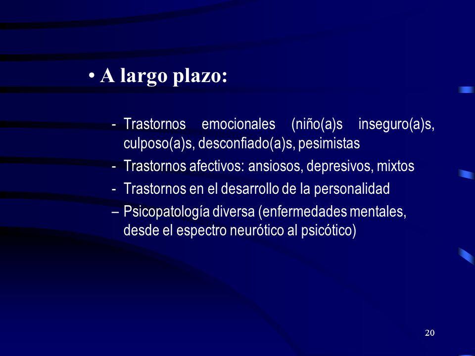A largo plazo:Trastornos emocionales (niño(a)s inseguro(a)s, culposo(a)s, desconfiado(a)s, pesimistas.