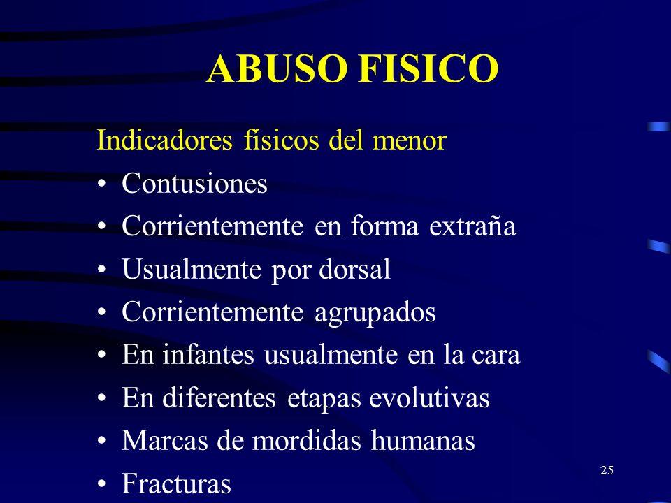 ABUSO FISICO Indicadores físicos del menor Contusiones